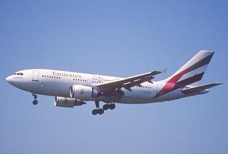36aq - Emirates Airbus A310-304; A6-EKN@ZRH;09.08.1998