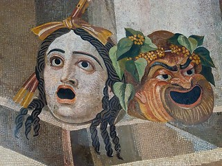 Mosaic depicting theater masks Roman 2nd century CE | by mharrsch