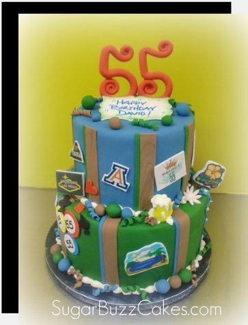 Terrific 55Th Birthday Cake With All The Things He Loves A Photo On Funny Birthday Cards Online Inifofree Goldxyz