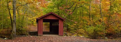 autumn panorama connecticut coveredbridge killingworth chatfieldhollowstatepark