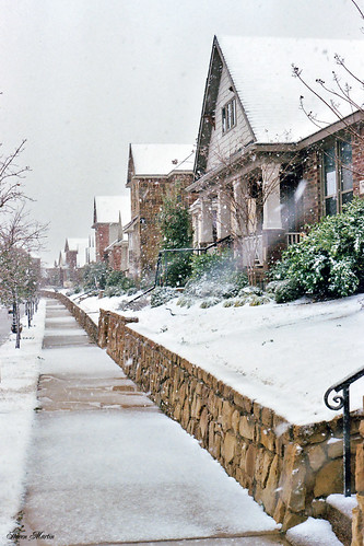 winter snow snowstorm neighborhood houses sidewalk 2008 northrichlandhills texas
