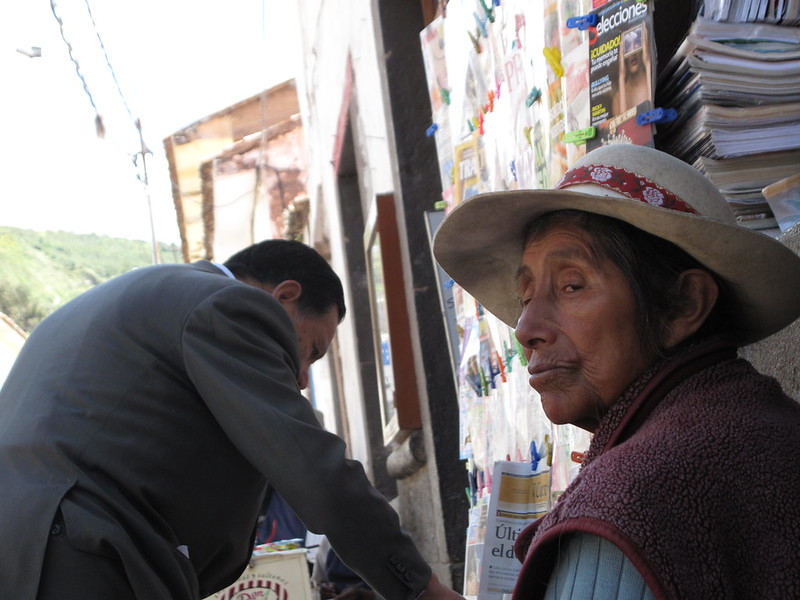 newspaper seller, Cusco Peru
