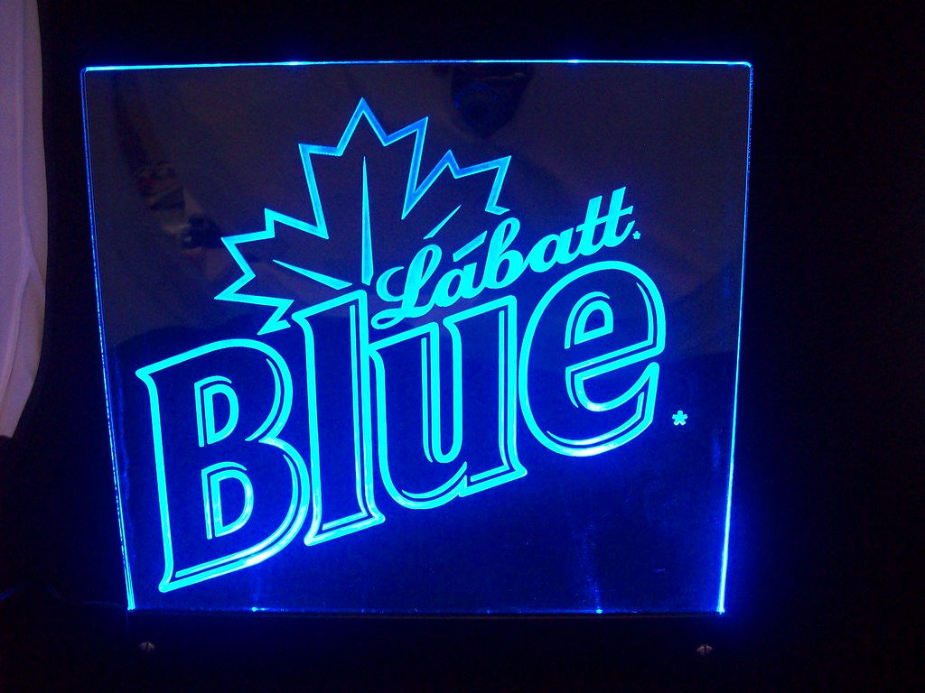 Labatt Blue Edge Lit Sign 2   Edge-lit acrylic sign, visible