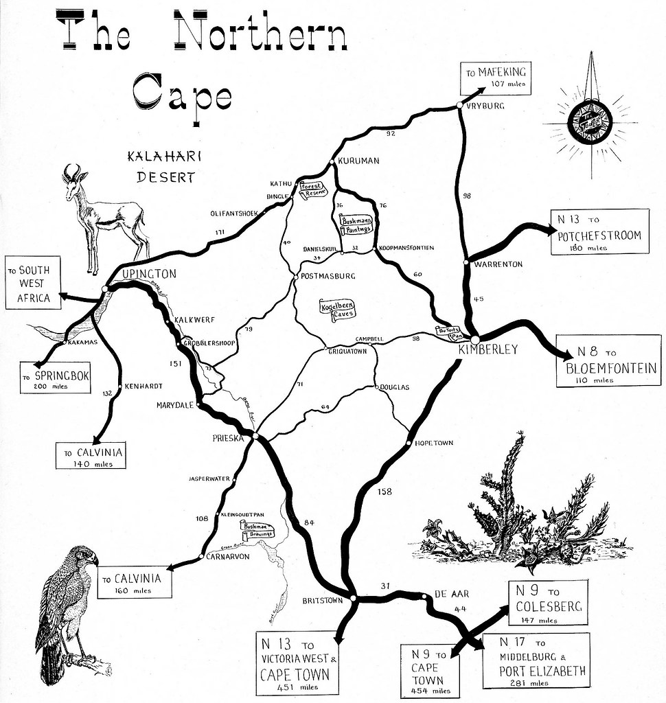 South Africa Road Map With Distances.The Northern Cape Road Map The Tourist In South Africa 196