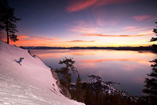 sunset skiing laketahoe extremeskiing sandharbor scotthanichen