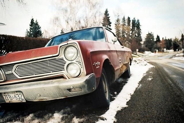Vintage Car - Plymouth Fury Sport & Nikon FE Film Camera
