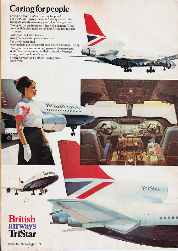 British Airways Tristar brochure - back page [rear cover]