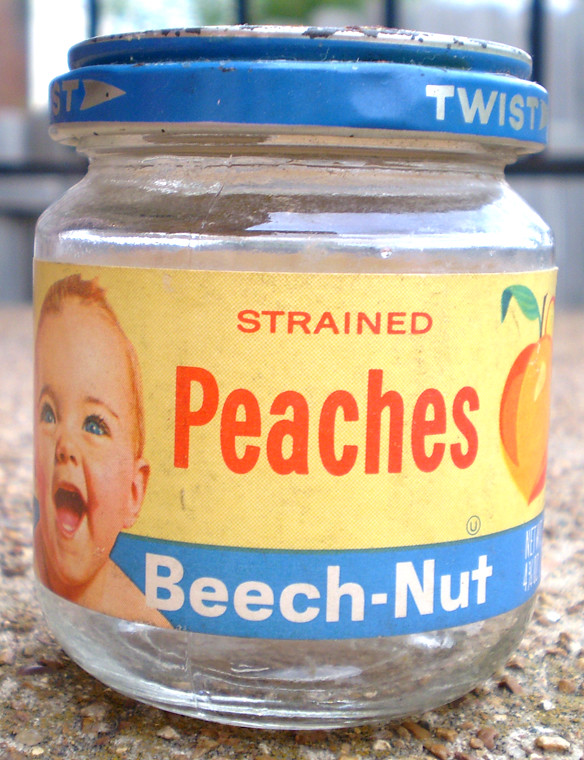 All Sizes Vintage 1963 Beech Nut Peaches Baby Food Jar