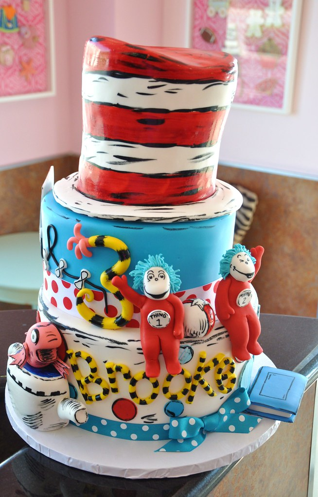 Excellent Dr Seuss Birthday Cake Cat In The Hat One Fish Two Flickr Funny Birthday Cards Online Alyptdamsfinfo