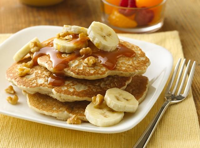 Banana-Walnut Pancakes with Caramel Topping Recipe