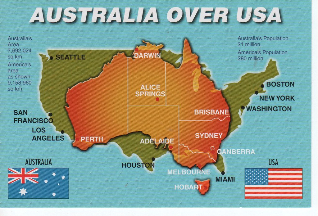 Map Of Australia And Usa.Australia Over Usa Map With Flags 11 X 17cm Sam P Flickr