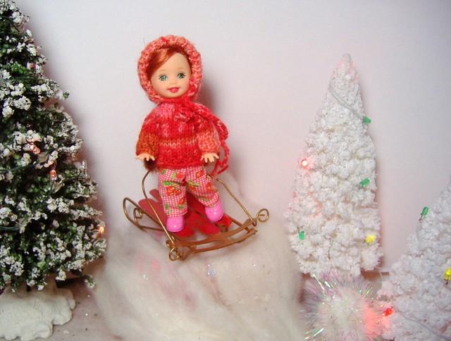 Kelly in 'antique rose' sweater & bonnet #1