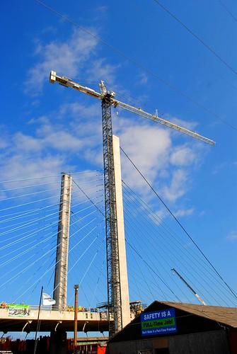 ocean bridge building beach concrete bay coast seaside crane pylon cables inlet delaware heavyequipment pylons worksite atlanticocean rebar traveler indianriver skanska stays seashorestatepark bridgeconstruction bridgedeck cablestays buildingbridge sussexcountyde indianriverinletbridge