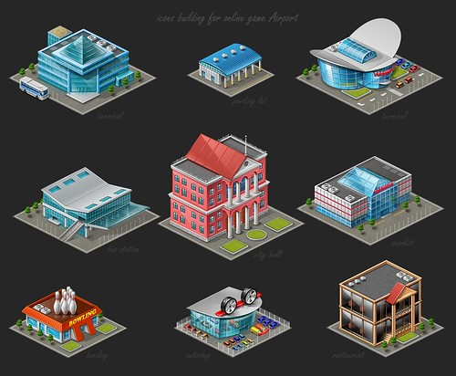 icons buildings for online game Airport