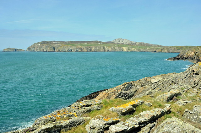 Abrahams Bosom Bay Looking Towards South Stack Lighthouse And Holyhead Mountain On Anglesey