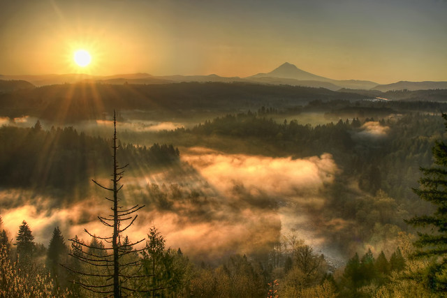 Sunrise Over Mount Hood and Sandy River From Jonsrud Viewpoint Oregon - HDR