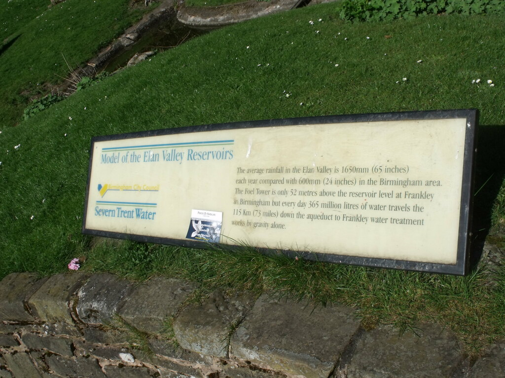 Cannon Hill Park - Model of the Elan Valley Reservoirs - sign