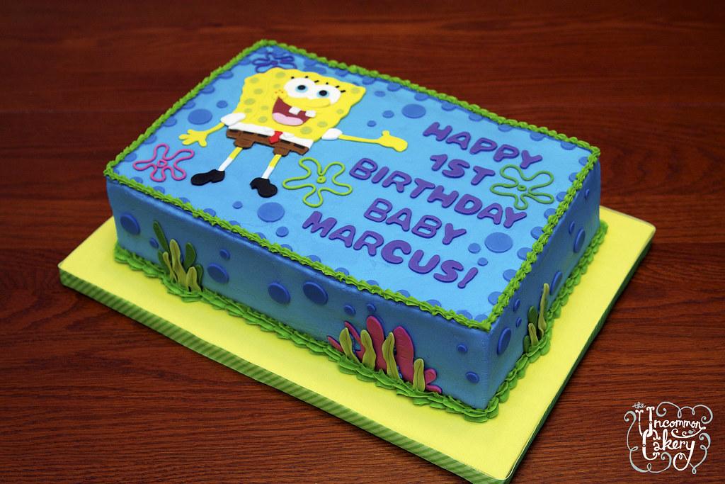 Awesome Spongebob Birthday Cake Vanilla Cake With Vanilla Frosting Flickr Funny Birthday Cards Online Alyptdamsfinfo