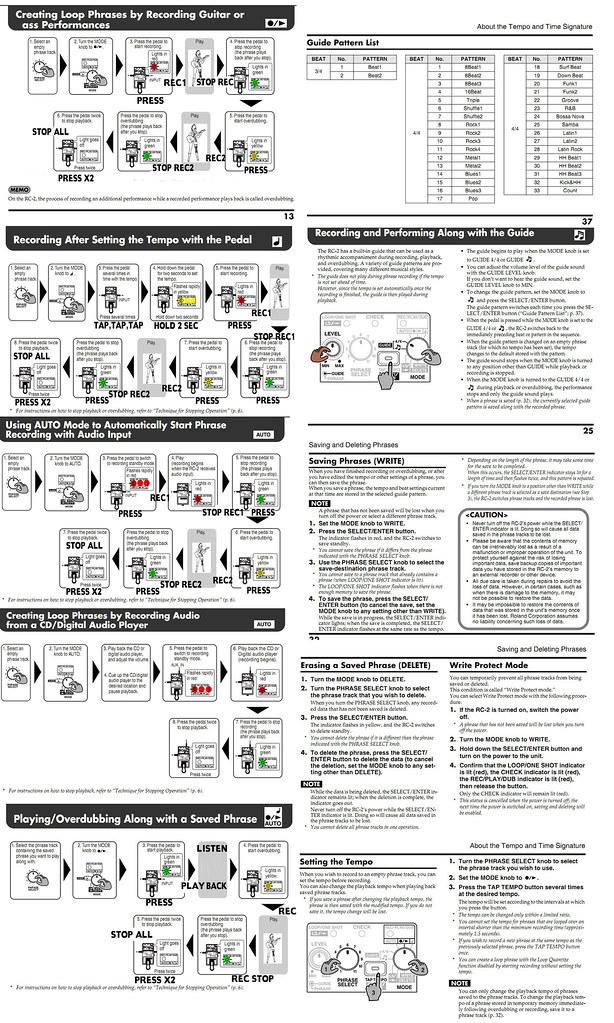 Boss RC-2 Cheat Sheet v2 2 | Oztin Hix | Flickr