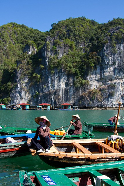 Bamboo boats of Vong Vieng floating fishing village, Ha Long Bay