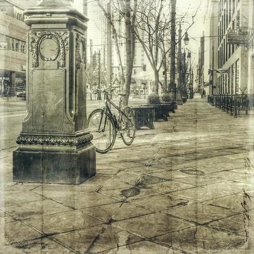 street morning urban bike canon vintage square colorado streetscene denver sidewalk hdr t1i tilestiled