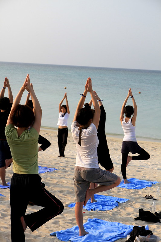 Yoga at beach - ClubMed Kabira Press Tour