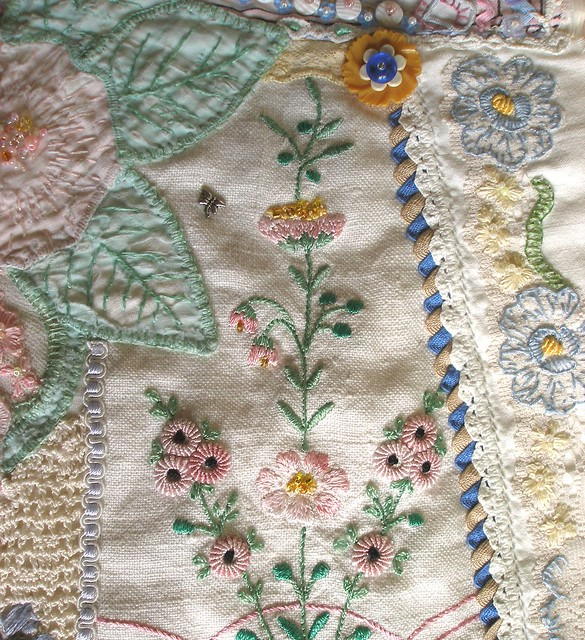 Crazy Quilt Detail-- orphaned old linens