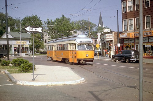 Boston MTA Wartime PCC car 3111 at Waverly Square in 1958 before trackless conversion | by ck4049