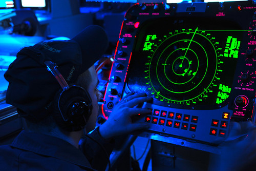 Sailor watches for vessels on radar. | by Official U.S. Navy Imagery