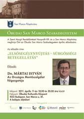 2011. április 5. 13:14 - San Marco Szabadegyetem: Dr. Mártai István
