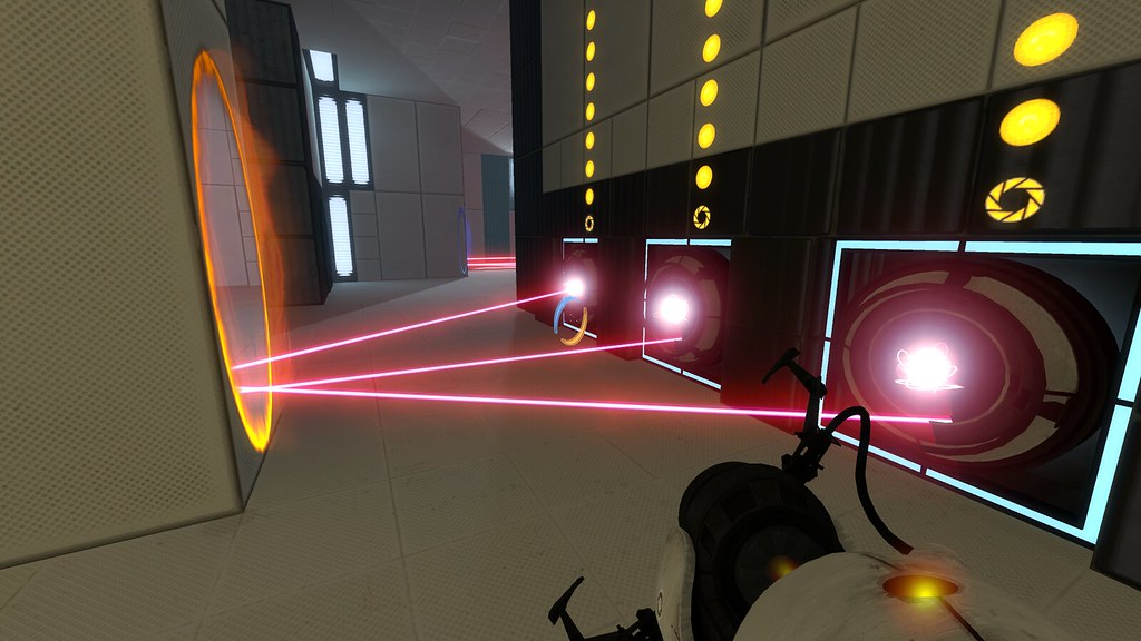 Image of a moment from the game Portal 2