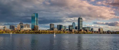 sunset urban panorama usa boston skyline clouds ma 50mm cityscape unitedstates massachusetts charlesriver newengland hancock prudential backbay beaconhill skyscrapper nikond7100