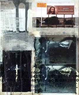 Zavier Ellis 'Repent II', 2014 Acrylic, c-type print, tape, acetate, poster on linen 30x25cm