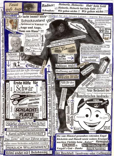 Kunst:=Hirnbeschäftigung+Schreiben noch irritiert+ unter Schock+Verzeiflung: Heinrich Schwär will allen Hoffnung geben.