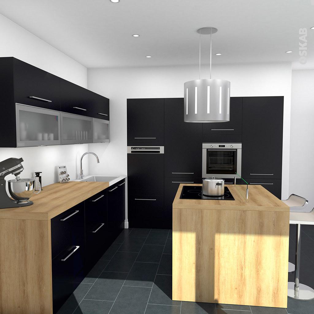 Cuisine Noire Mat Avec Ilot Central Design Oskab Flickr