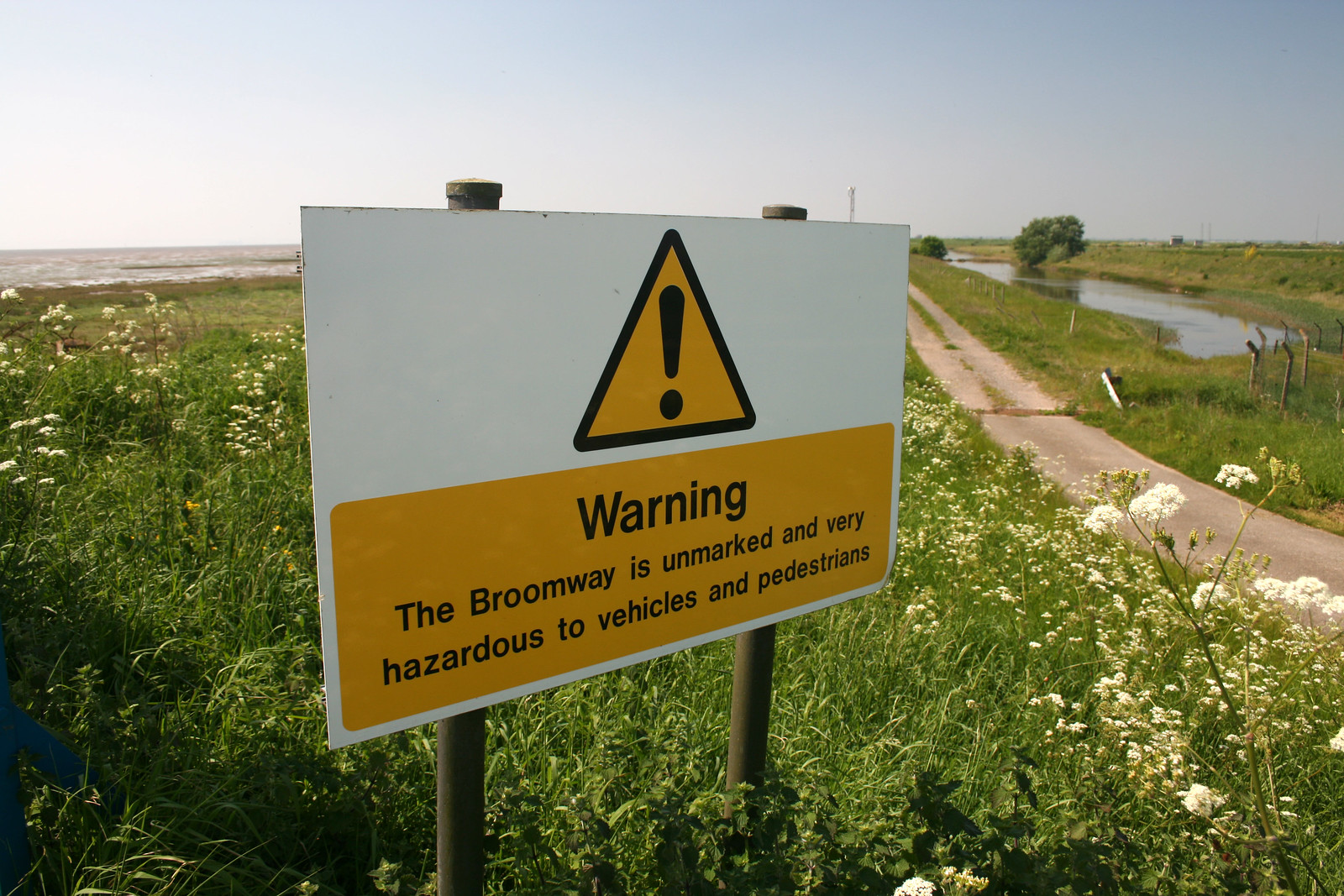 Broomway warning sign on Foulness Island