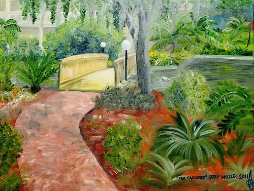 garden landscape office florida cascades oilpainting ocala pleinair larrywhitler