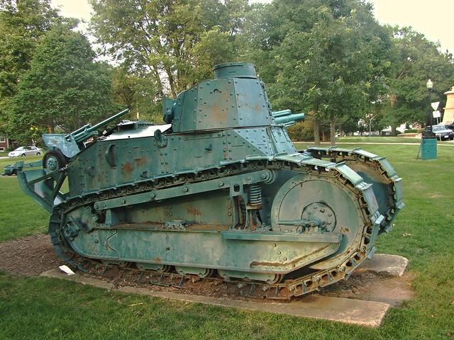 World War 1 One ton antique  tank. in Millers Park Bloomington IL.