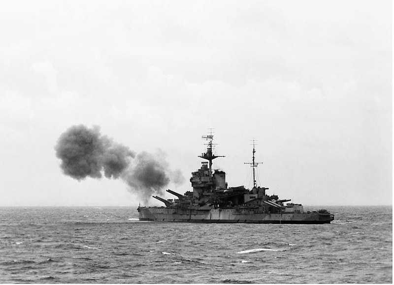 HMS Warspite, part of Bombarding Force 'D' off Le Havre
