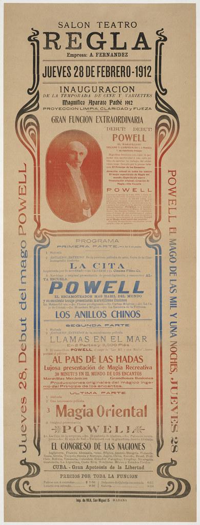 Salon Teatro Regla : Jueves 28, debut del mago Powell. Powell el mago de las mil y una noches, Jueves 28