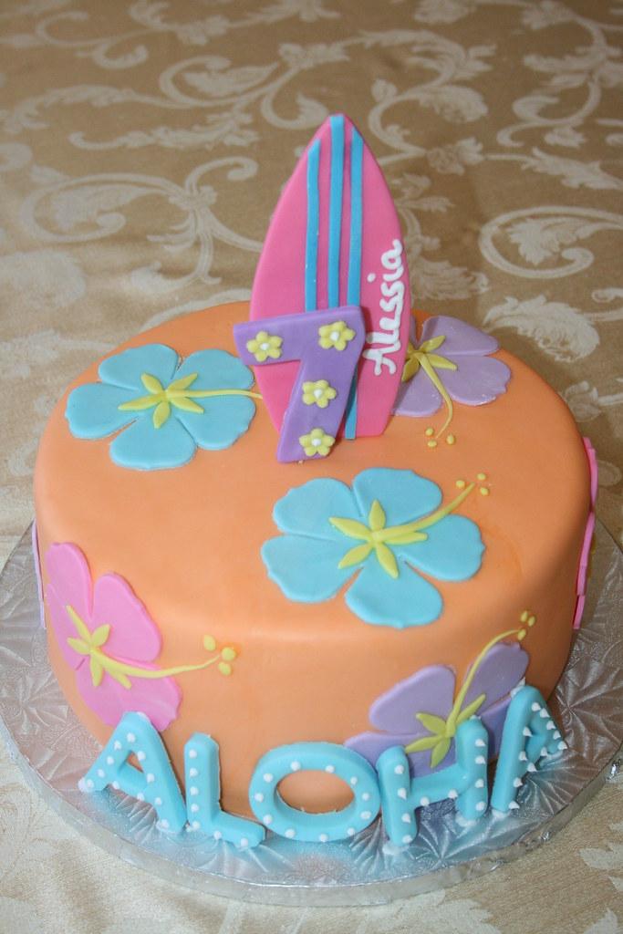 Excellent Hawaiian Themed Birthday Cake Sia Karageorgos Flickr Funny Birthday Cards Online Inifofree Goldxyz