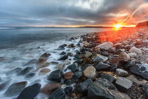 sunset canada beach water landscape rocks novascotia ns halifax lawrencetown lawrencetownbeach