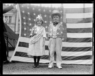 "Kiddies dressed as ""Columbia"" and ""Uncle Sam"", Bunker Hill Day, Charlestown 