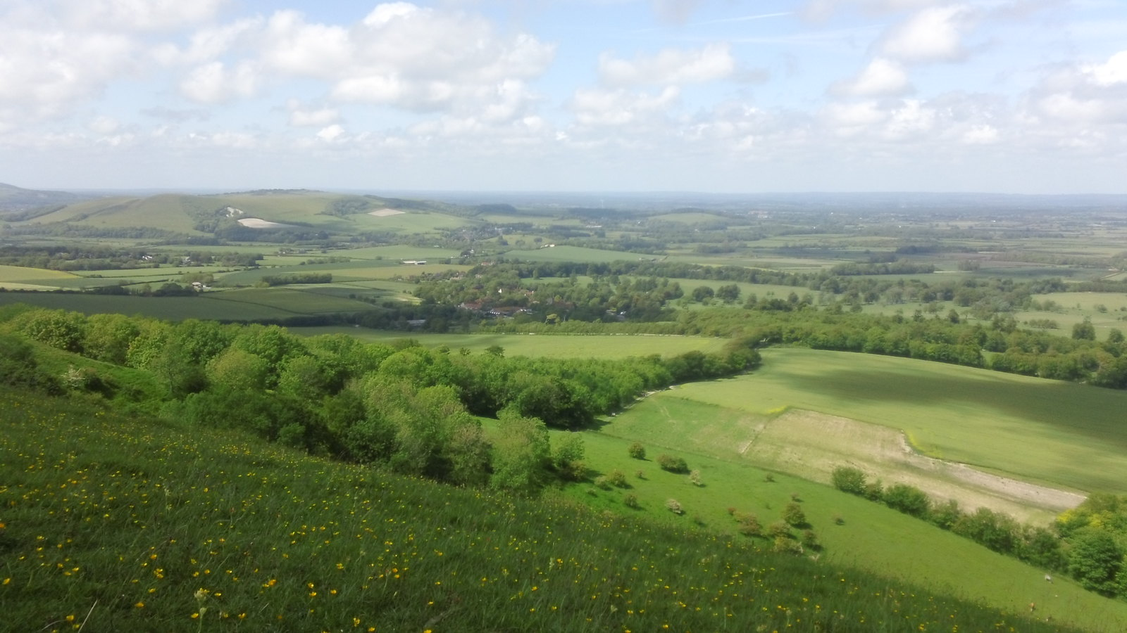 Sussex vista from track leading up to South Downs Way from Firle.