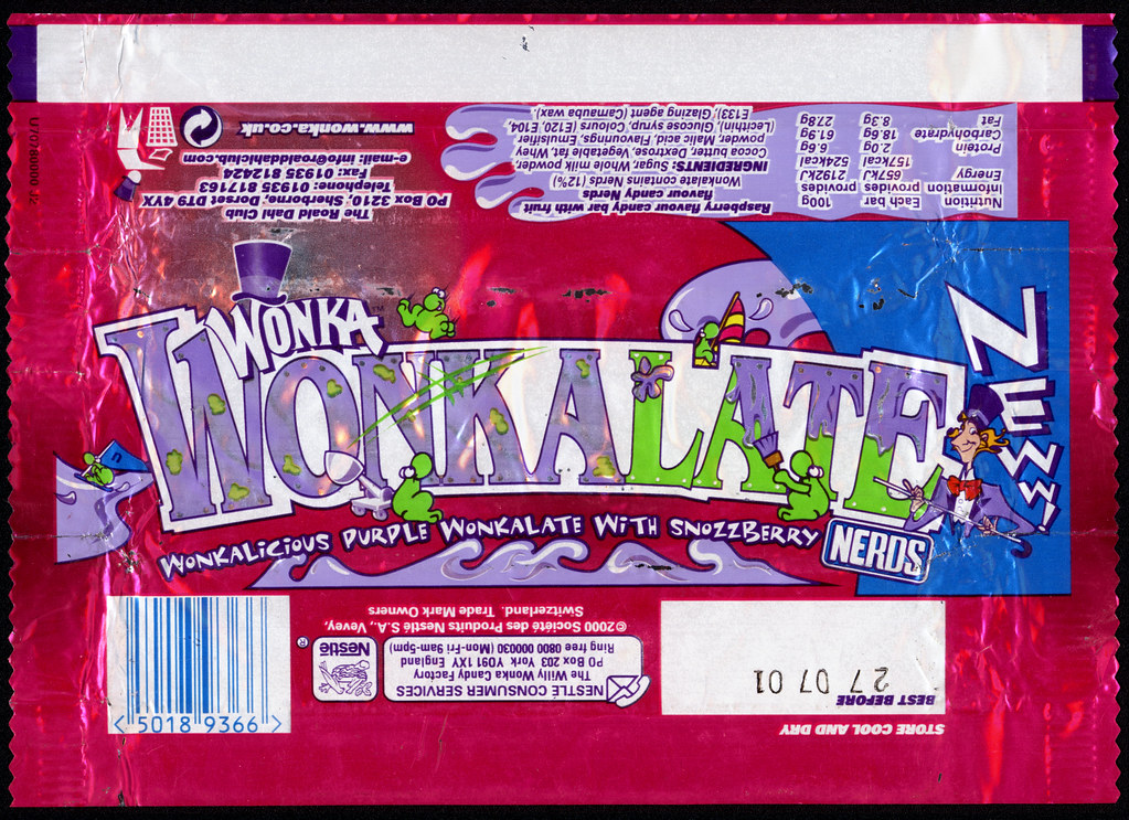 Uk Nestle Wonka Wonkalate Foil Candy Bar Wrapper