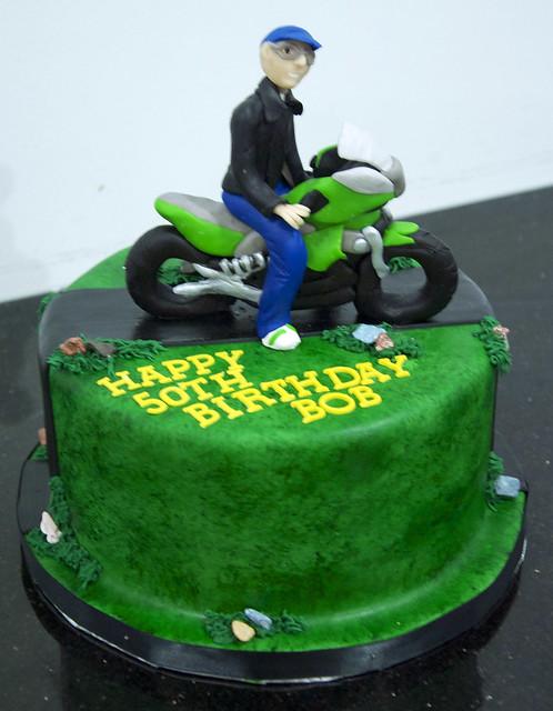 green motorcycle cake