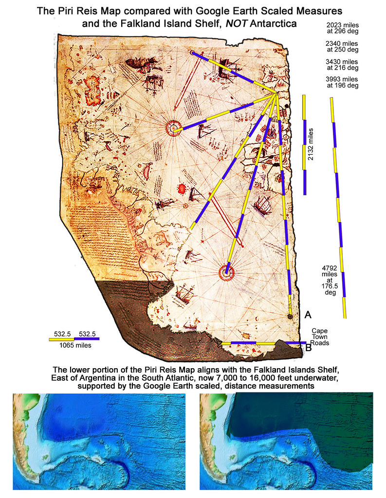 Piri Reis Map: Scale Measurements from Gibraltar, compared with Google Earth, and the Falkland Island (Malvinas) Shelf