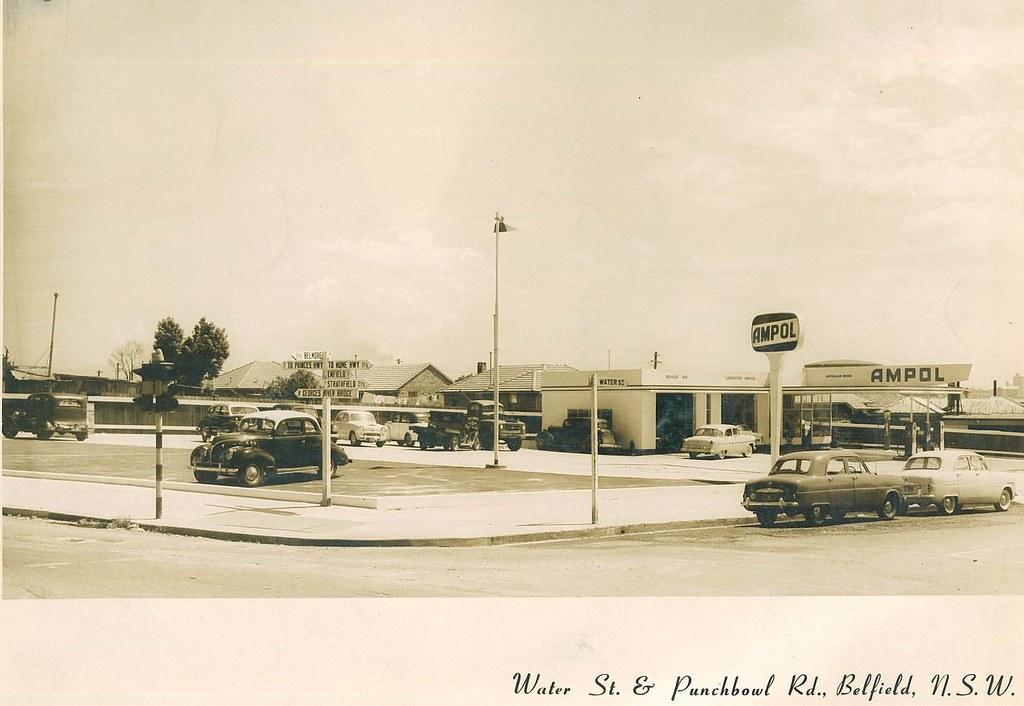 Ampol Service Station Belfield NSW, c 1960