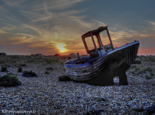 Abandoned Fishing Boat At Sunset, Dungeness, Kent