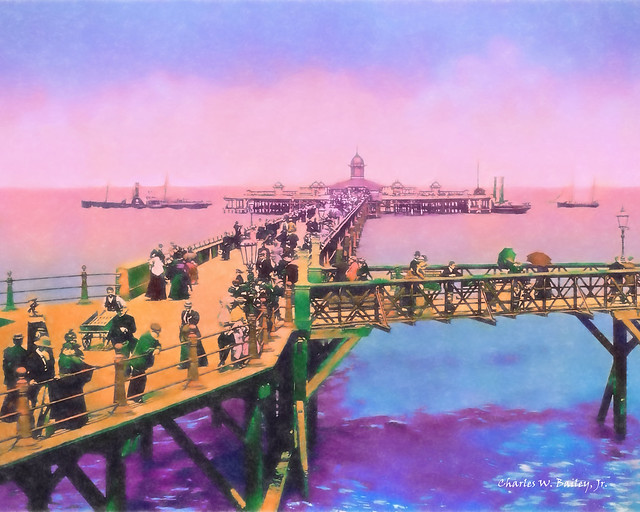 Digital Pastel Drawing of a Jetty in Margate, England by Charles W. Bailey, Jr.